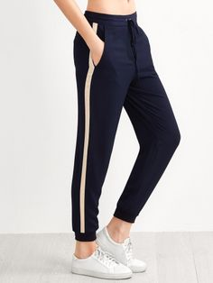 Тёмно-синие модные брюки на кулиске