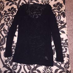 Black mesh sweater Black oversized sweater. Mesh like fabric Sweaters Crew & Scoop Necks