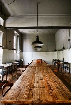 Communal table in a Milan cafe; love the patina of the wood