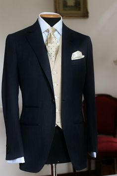 sartoriacresent: COSTUME FOR A GROOM SUPER150's DARK BLUE SUIT + IVORY IRISH LINEN WAISTCOAT