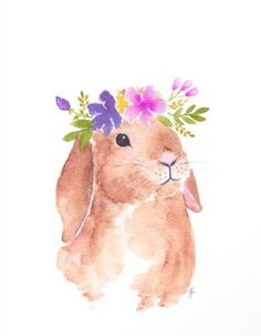 Items similar to Floppy ear bunny - Bunny digital print - bunny printable - flower crown bunny - nursery printable on Etsy Watercolor Images, Watercolor Bird, Watercolor Animals, Watercolor Paintings, Watercolors, Bunny Painting, Painting & Drawing, Kim Kai, Bunny Nursery