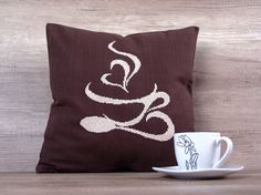 Coffee cup embroidery cushion cross stitch by AdorningPillows