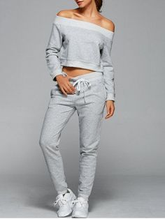 GET $50 NOW | Join RoseGal: Get YOUR $50 NOW!http://m.rosegal.com/gym-outfits/off-the-shoulder-sweatshirt-with-699616.html?seid=4821443rg699616