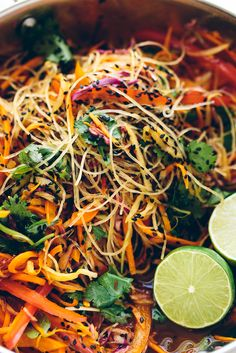 Rainbow Glass Noodle Crunch Salad with Chile-Lime Vinaigrette | Crunchy, vibrant, flavor-packed, fun to eat + nourishing!