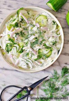 Salade de concombre et yaourt à la turque + Jus de concombre à la menthe et au citron