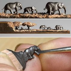 A family of elephants carved into a pencil by Cindy Chinn. See more views on Colossal, link in bio. Bleistift Design, Pencil Carving, Group Art, Crayon Art, Wow Art, Pencil Art, Artist Art, Cool Artwork, Amazing Art