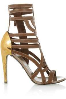 Sergio Rossi leather and hammered-gold sandals #SergioRossi #THEOUTNET