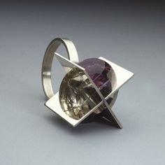 Ring by Herman Hermsen. Sterling silver, crystal and amethyst.