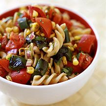 Pan-Roasted Corn and Poblano Chili Pasta Salad