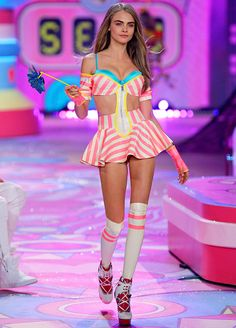 Cara Delevingne walks the runway during the 2012 Victoria's Secret Fashion Show at the Lexington Avenue Armory on November 7, 2012 in New York City.