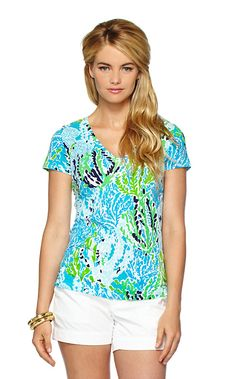 Lilly Pulitzer Michele V-Neck Top in Spa Blue Lets Cha Cha