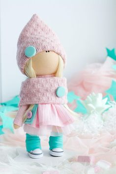 Gnome Doll, Textile Doll, Personalized Doll, Interior Dolls, Pink Nursery Decor, Rag Doll, Teacher Gift, Keepsake Gift, Birthday Gift