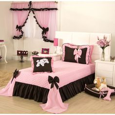 Girls quilt and curtain Meg 04 Pieces Pink - Colleone Trousseau . Baby girl quilt and curtain Meg 04 Pink – Colleone Baby Equipment – Magazine Danysaviani Pink Bedroom Decor, Pink Bedrooms, Bedroom Sets, Dream Bedroom, Girls Bedroom, Bedding Sets, Bed Cover Design, Floral Comforter, Bedroom Images