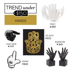 """Trend Under $150: Hands"" by polyvore-editorial ❤ liked on Polyvore featuring interior, interiors, interior design, home, home decor, interior decorating, Dot & Bo, Anya Hindmarch, Hands and trendunder150"