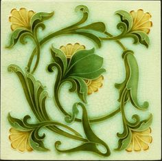 "6""x6"" Majolica tile by J.H. Rudd of Pilkington, circa 1905"
