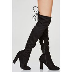 No Mistake Thigh High Boots ❤ liked on Polyvore featuring shoes, boots, zip shoes, tie boots, tie shoes, tall boots and chunky heel shoes