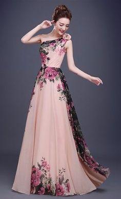 vestido chifon ombro floral baile festa formatura plus size