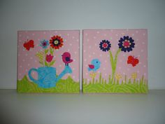 A set of Fabric Covered Wall Art Children's Room or by fabbdesigns, $30.00