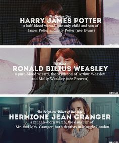 Harry James Potter, Ronald Bilius Weasley y Hermione Jean Granger - # - Harry Potter ⚡ - Harry James Potter, Harry Potter World, Arte Do Harry Potter, Harry Potter Ron Weasley, Harry Potter Puns, Harry Potter Universal, Harry Potter Characters Names, Hermione Granger Quotes, Book Characters