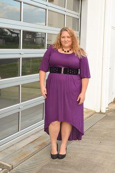 Purple high-low dress with a black belt