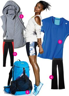 Want the shorts, vest, and sweatshirt top. Shop Your Shape: Fitness Looks http://www.womenshealthmag.com/style/workout-clothes?cm_mmc=Facebook-_-WomensHealth-_-Content-Style-_-WorkoutClothes