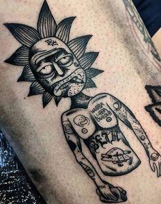 Best 40 Rick and Morty Fan Tattoos Skull Tattoo Design, Dragon Tattoo Designs, Tribal Tattoo Designs, Tribal Tattoos, Tatoos, Symbol Tattoos, Moon Tattoos, Celtic Tattoos, Ricks Tattoo