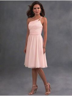 A-Line One-Shoulder Short Pink Chiffon Bridesmaid Dresses 906019