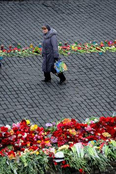 Flowers in Independence Square, Kyiv, Ukraine. 25-2-2014