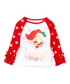 Look at this Red & Gold Santa Ruffle Raglan Tee - Infant, Toddler & Girls on #zulily today!