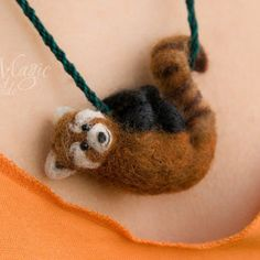 Needle felted red panda on braided necklace, miniature animal, creature pendant, wool felting, animal toy, red, felted jewelry, cute