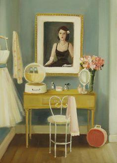 Beatrice's Dressing Room Original Oil Painting by janethillstudio