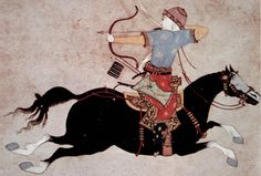 "medievel painting of Mongol warrior doing a ""Parthian shot"""
