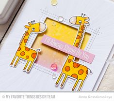 Hello! Welcome toMy Favorite ThingsMayRelease Countdown!All of the new products will be available May 2stat 9:00pm EST. And for today I have only one simple card but it is so pretty! I worked withGiraffing Me Crazystamp set. I started with preparing the giraffes — colored them withTombow Dual Brush pens and cut out with the coordinating die-namics. The sentiment is white embossed onCotton Candycard stock. I like this phrase, it is perfect for parent + child card. The front panel is…