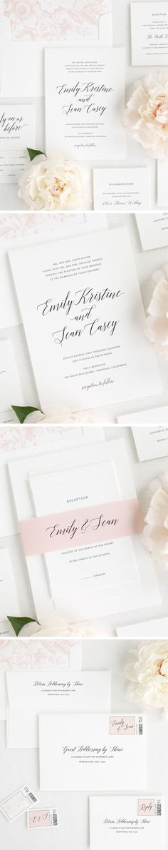 Love the look of modern calligraphy, but want a classic wedding invitation? This garden inspired wedding invitation suite so is simple and elegant! A romantic script font in a slight arch creates a soft look to our Garden Romance wedding invitations. Pair