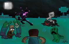 A Typical Night in Minecraft Fan Art! mobs going crazy Minecraft Art, Game Art, Drawings, Art, True Art, Anime, Fan Art