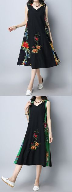US$30.89 Vintage Women Patchwork Hooded Sleeveless Dresses