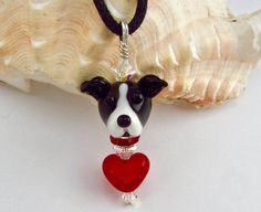 Greyhound Lover Necklace  Lampwork Bead SRA by SUZOOM on Etsy