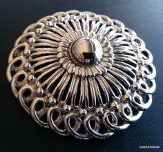 Signed EISENBERG Vintage Brooch Pin Pendant Flower Silver Tone Filigree WOW 3001