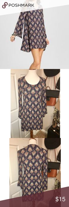 Bell Sleeve Dress Beautiful navy patterned bell sleeve dress. Size Small. Worn only once ! Mossimo Supply Co Dresses Long Sleeve