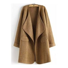 SheIn(sheinside) Khaki Long Sleeve Peplum Trims Casual Coat ($25) ❤ liked on Polyvore featuring outerwear, coats, brown coat, khaki coat, long sleeve coat and peplum coat