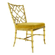 Faux Bamboo Gold Metal Frame Chair