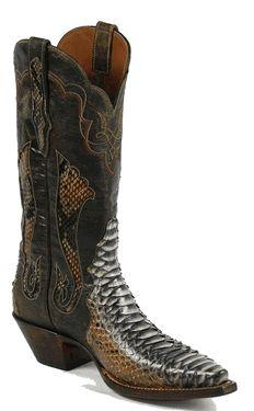 Black Jack Rust Dyed Python Cowboy Boots!