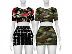 CROP TOP&SKIRT (DRESS CATEGORY) - The Sims 4 Download - SimsDomination