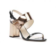 db0067916044 Poppy Metallic Leather Block Heel Sandal