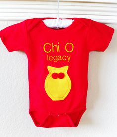 Chi Omega Legacy Onesie... I need this for my girls!