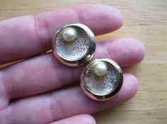 Emmons Cuff Links Goldtone and Faux Pearl by TheSnapDragonsLair