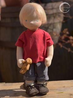 boy Waldorf doll by Waldorfdollshop Felt Dolls, Crochet Dolls, Doll Toys, Baby Dolls, Waldorf Crafts, Waldorf Dolls, Fabric Dolls, Paper Dolls, Little Pet Shop Toys