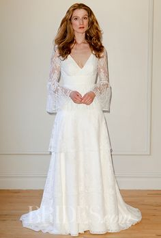 A gloriously '70s-style  @delphinemanivet wedding dress   Brides.com