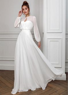 Wedding Dress Simple, Conspicuous Chiffon Keyhole Neckline A-line Prom/Evening Dresses, We sell gorgeous, affordable wedding dresses available in a variety of styles & sizes. Our wedding gowns are made to order. Browse our wedding dresses Modest Wedding Dresses With Sleeves, Long Wedding Dresses, Bridal Dresses, Wedding Gowns, One Shoulder Wedding Dress, Lace Wedding, Dresses To Wear To A Wedding, Rustic Wedding Dresses, Long Sleeve Wedding