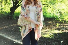 """**DIY kimono aka the perfect light fall layer. (Minimal 30"""" across, sew up sides approx 12"""", add bias to reinforce neck and side edge) white with black iris print, matching pencil skirt and black booties."""
